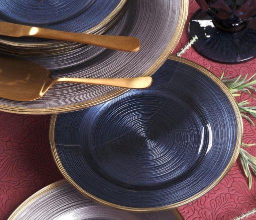 Сервиз за торта - 7 части - Clrcles - Синьо / Златно
