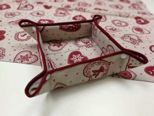 Кръгла покривка за маса – Коледна серия Червени Сърца – vany design