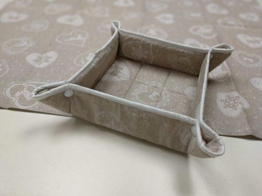 Кръгла покривка за маса – Коледна серия Бели Сърца – vany design