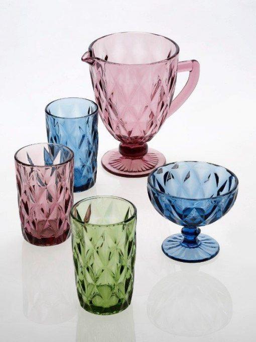 Комплект 6 чаши за вино на столче KARE Green - 230  ml