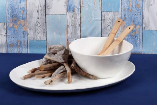 Купа за салата с бамбукови прибори за сервиране - серия MAGNA - Durable Porcelain