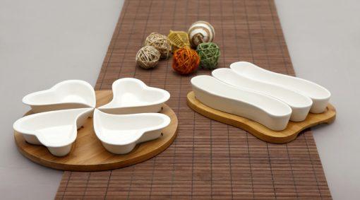 Плато са сервиране - 3 бр купички за сервиране на маслини върху бамбукова поставка - серия LOTOS