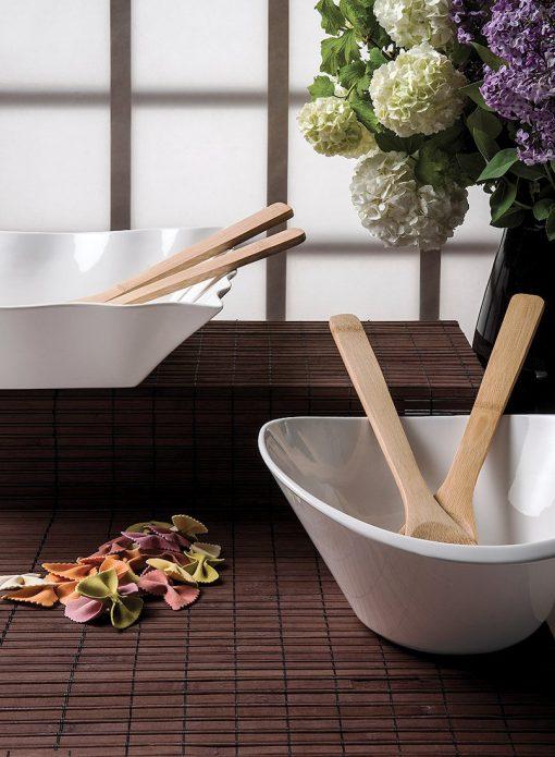 Купа за салата с бамбукови прибори за сервиране - Кръгла форма - размери: 26x25x12