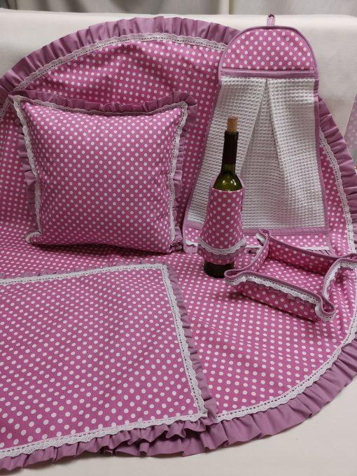 Престилка за бутилка - Бели Точки Розов Vany Design