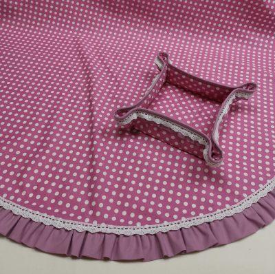 Кръгла покривка за маса shabby chic – Модел 3 Бели Точки Розов vany design