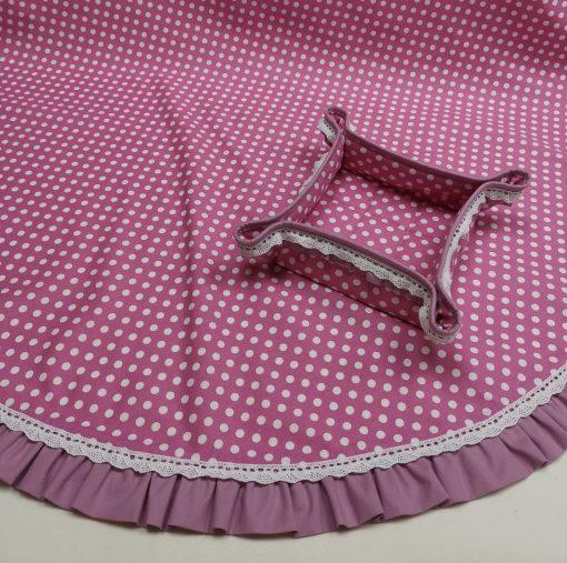 Кръгла покривка за маса Shabby chic - Модел 3 Бели Точки Розов Vany Design