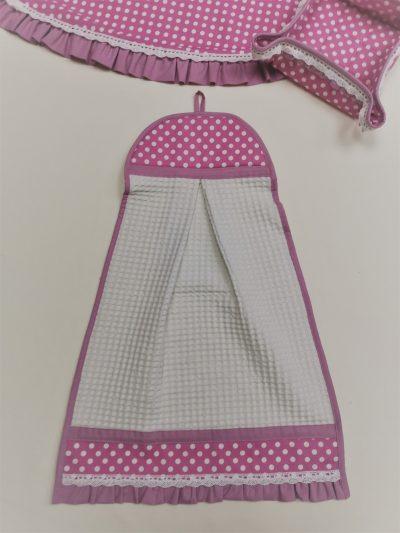 """Кърпа за ръце """"Кокетка"""" – Бели Точки Розов vany design"""