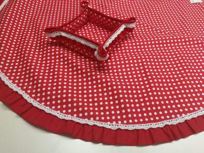 Кръгла покривка за маса shabby chic – Модел 3 Бели Точки Червен vany design