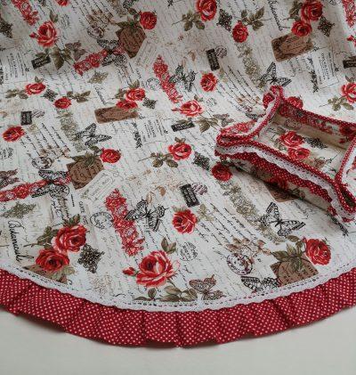 Кръгла покривка за маса shabby chic – Модел 3 Винтидж Рози vany design