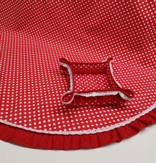 Покривка за маса shabby chic- Модел 3 Бели Точки Червен vany design