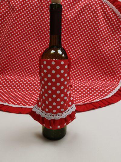 Престилка за бутилка – Бели Точки Червен vany design