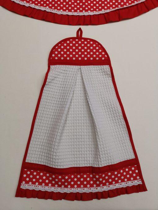 """Кърпа за ръце """"Кокетка"""" – Бели Точки Червен vany design"""