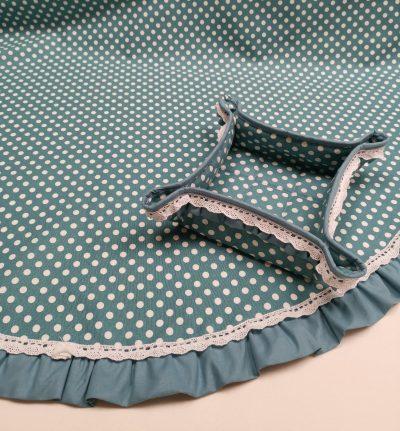 Кръгла покривка за маса shabby chic – Модел 3 Бели Точки Син vany design