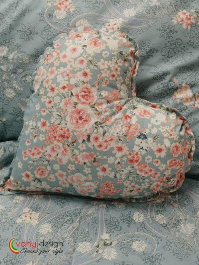 Възглавничка с къдрички Сърце 100% Ранфорс – Модел 1 Цветя Розов vany design