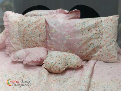 Калъфка за възглавница 100% Ранфорс – Модел 2 Розов с Цветя vany design