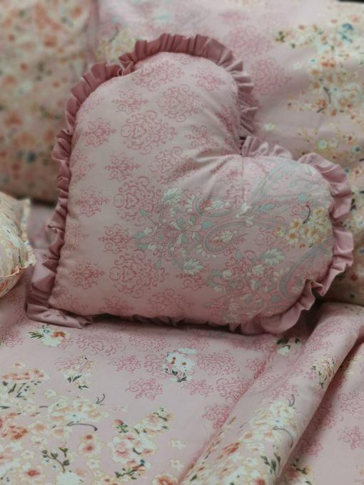 Възглавничка с къдрички Сърце 100% Ранфорс - Модел 2 Розов Vany Design