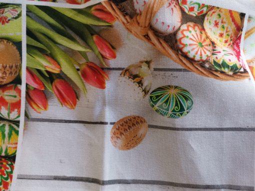 Кръгла покривка за маса Великден - Яица и лалета в оранжево Vany Design
