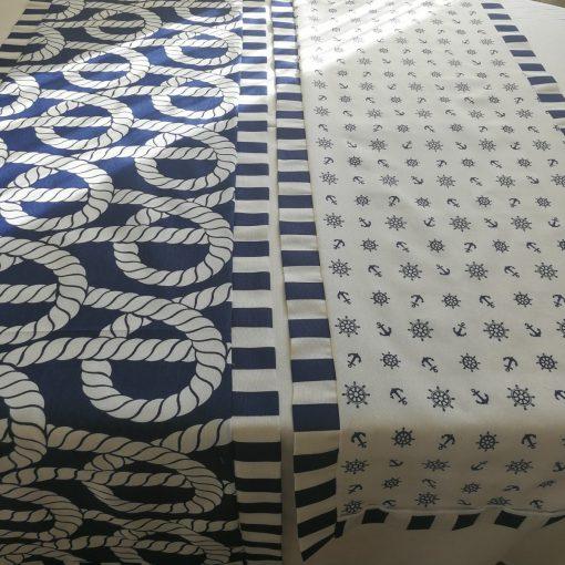 Подложка за маса с декоративен бордюр - Корабно въже в синьо