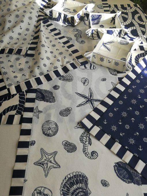 Тишлайфер за маса с декоративен бордюр - Корабно въже в бяло - Vany Design