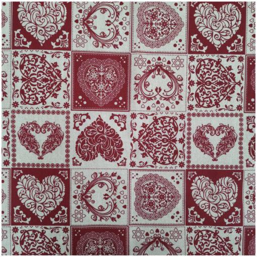 Плат лонета - Червени сърца