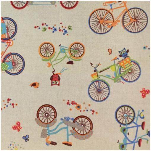 Правоъгълна покривка за маса 130/180 - Бухалчета с колело