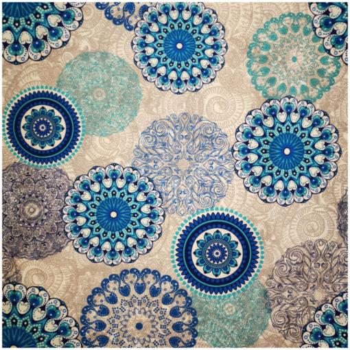 Правоъгълна покривка за маса 140/240 - Синя Мандала