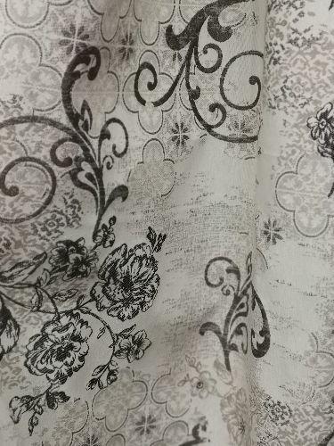 жакард стилизирани цветя сиво