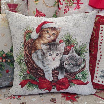 Коледна декоративна възглавница - Котенца
