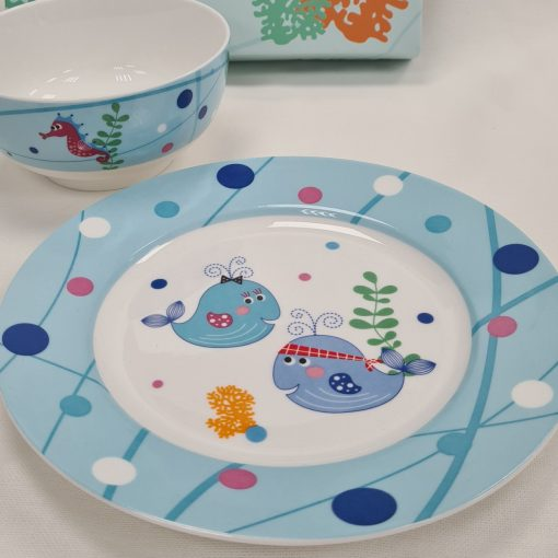 Детски сервиз за хранене 6 части Син кит