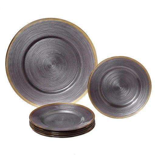 Сервиз за торта Circles син/сив със златен кант - 7 части 14