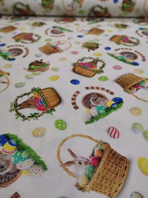 Великденски кръгли покривки за маса Зайче в кошница - Vany Design