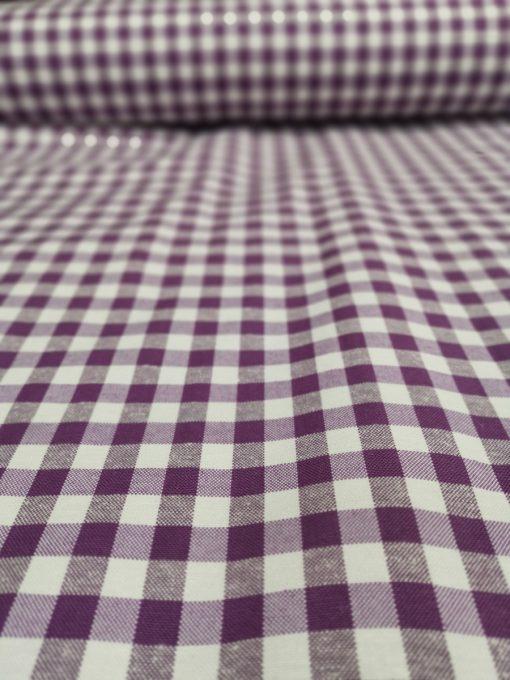Кръгла покривка за маса Ф140 Лилаво каре с добавена памучна дантела Vany Design