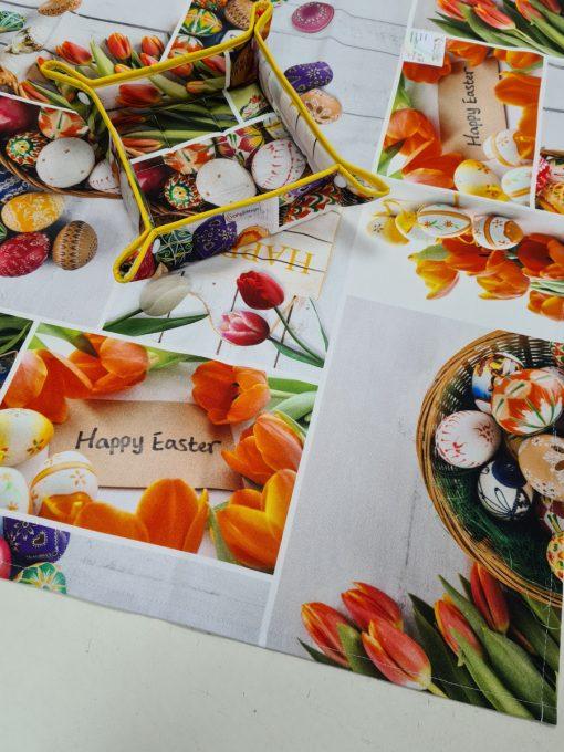 Правоъгълна покривка за маса 100% памук дигитална щампа Великден 04 в оранжево - Vany Design