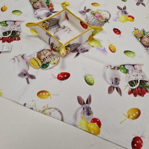 Правоъгълна покривка за маса Великден 01 - дигитална щампа 100% памук - Зайче в кошница - Vany Design