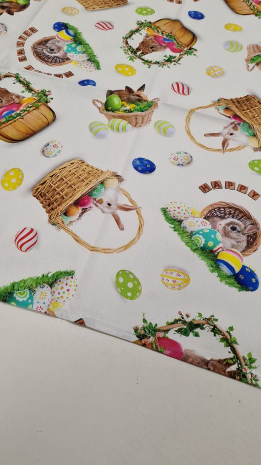 Правоъгълна покривка за маса Великден 02 - дигитална щампа 100% памук - Зайче в кошница - Vany Design