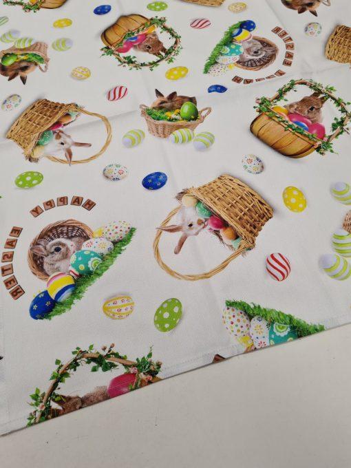 Елипсовидна покривка за маса Великденска 100% памук дигитална щампа Зайче в кошница - Vany Design