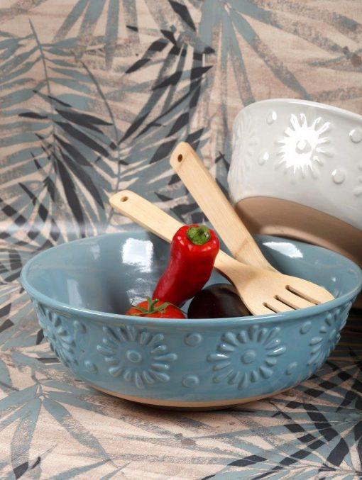 Купа за салата - 27 см с бамбукови прибори за сервиране - материал STONEWARE - серия: FLOWER - Petrol