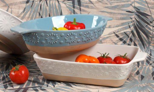 Съдове за печене във фурна - материал STONEWARE - серия: FLOWER - Cream
