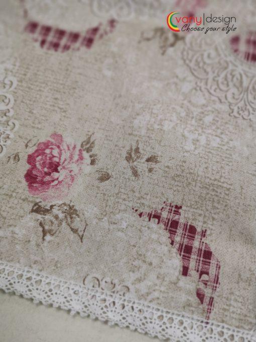 Правоъгълна покривка за маса с  добавена памучна дантела от Vany Design
