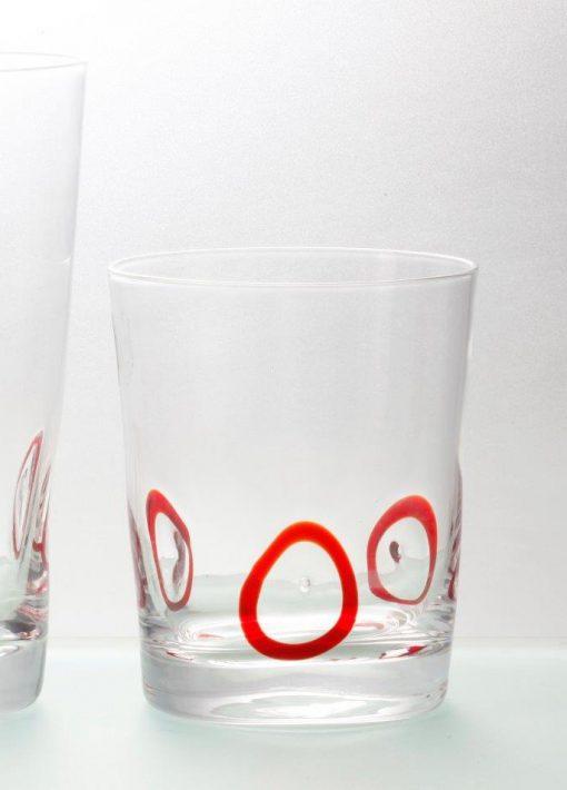 Комплект 6 чаши за уиски - 350 мл серия: Circles - Red