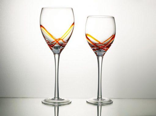 Комплект 6 чаши за вино със столче – 365 мл серия:  X - tream Orange