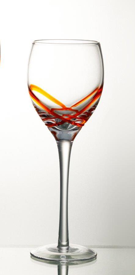 Комплект 6 чаши за вино със столче – 265 мл серия: X - tream Orange