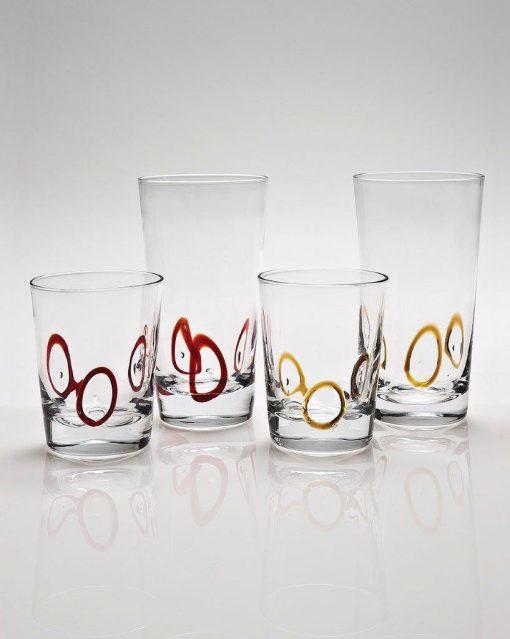 Комплект 6 чаши за вода  - 455 мл серия: Circles - amber