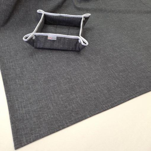 Елипсовидна покривка за маса с хидрофобирано покритие Тъмно сиво 180 ширина Vany Design
