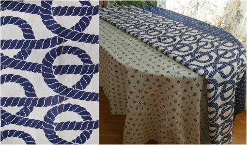 Правоъгълна покривка за маса Корабно въже на бял фон Vany Design