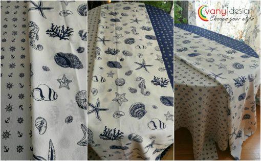 Правоъгълна покривка за маса Морски дарове на бял фон Vany Design