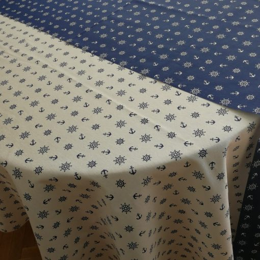 Правоъгълна покривка за маса Котви на бял фон Vany Design