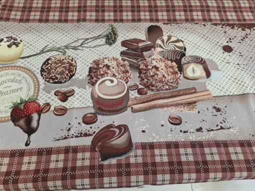 Арт колекция материя жакард - Покривка за маса 140/240 Шоколад